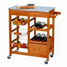 Do you need an auxiliary piece of furniture that doesn't require much space? We've got exactly what you need: the amazing wooden kitchen trolley! It's a resistant, practical, innovative and elegant kitchen trolley you can use to keep your food and. Pine Kitchen, Wooden Kitchen, Woodworking For Kids, Woodworking Toys, Wine Rack Storage, Storage Baskets, Wine Racks, Metal Baskets, Storage Drawers