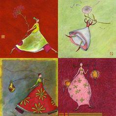 Gaëlle Boissonnard Art Floral, Art Fantaisiste, Art Carte, Illustration Noel, Art Moderne, Whimsical Art, Craft Patterns, Fabric Painting, Beautiful Paintings
