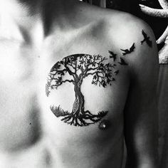 Tree Tattoo – I personalised a tree of life design for tattoo number 58 Tree Nature Tattoos, Life Tattoos, Body Art Tattoos, Hand Tattoos, Sleeve Tattoos, Tatoos, Trendy Tattoos, Black Tattoos, Tattoos For Guys
