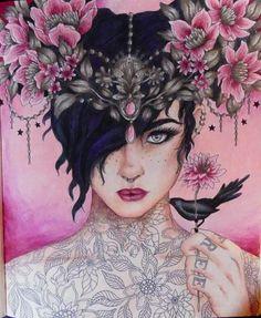 Tattoo Girl #summernights #hannakarlzon #adultcoloring #summernightscoloringbook