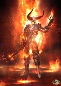 Poe Infernal by Alex Tornberg Fantasy Armor, Dark Fantasy Art, Fantasy Art Warrior, Monster Art, Fantasy Character Design, Character Art, Fire Demon, Arte Horror, Horror Art