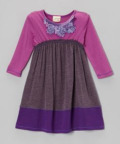 Take a look at this Eggplant & Orchid Curlicue Dress - Girls by Vanilla Crème on #zulily today!