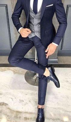 Trendy Mens Fashion, Mens Fashion Suits, Fashion Menswear, Men's Formal Fashion, Casual Wear For Men, Casual Suit, Casual Outfits, Blue Suit Men, Blue Suits