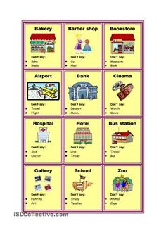 Reading and speaking: Taboo cards - Places in city Vocabulary Practice, Vocabulary Cards, Taboo Cards, Teaching Nouns, Taboo Game, Listen And Speak, English Lessons, Kids English, English Class