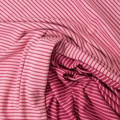 ALBSTOFFE Bio-Doubleface Jacquard Jersey Double Stripe - Lampone Melange/ Rosa