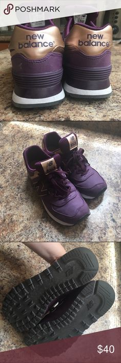 New balance metallic gold and purple sneakers 9.5 Not quite my style but maybe they're yours! On trend rose gold and purple. Super comfy. I wore them a handful of times. New Balance Shoes Sneakers