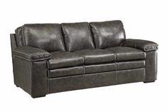 Charcoal Gray Grey Top Grain Leather Sofa w Baseball Stitching Furniture | eBay