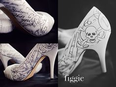 Hand-Painted Silver and Black Wedding Shoes with Skull and Crossbones | www.figgieshoes.com