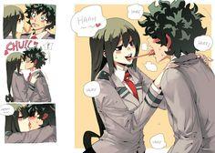 Midoriya and Tsuyu