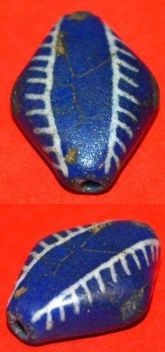 Antique Blue Kiffa Diamond Bead Mauritania, Africa