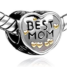 Pugster Heart Best Mom Charms Beads Fit Pandora Charms & Beads Gifts For Mother ♥