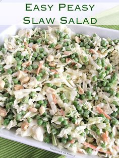 Easy Peasy Slaw Salad.  I used Brianna's Poppy Seed Dressing for this. I don't like peanuts so I used pecans. You can use almonds too. Add chicken if you want more protein