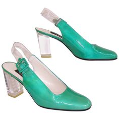 C.1990 Stuart Weitzman Emerald Green Patent Leather Shoes With Lucite Heels | From a collection of rare vintage shoes at https://www.1stdibs.com/fashion/accessories/shoes/