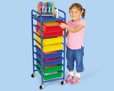 Lakeshore's Storage Tray Mobile Organizer is roomy enough for tons of materials, yet compact enough to set up anywhere!