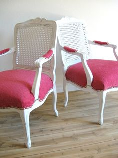 Vintage French Cane Back Arm Chair #pink #etsy
