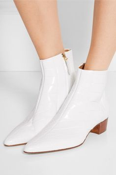 Heel measures approximately inches White glossed-alligator Zip fastening along side Alligator: USA Made in Italy White Ankle Boots, Cuffed Jeans, Shoe Boots, Shoes, Smooth Leather, Kendall Jenner, Block Heels, The Row, Italy