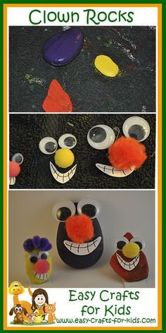These clown rock painting ideas will help you transform the rocks you find on the beach into brightly colored clowns for Summer Beach Crafts For Kids, Crafts For Girls, Crafts To Do, Easy Crafts, Kids Crafts, Turtle Painting, Rock Painting, Halloween Rocks, Painting For Kids