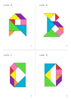 Word Wall Letters Alphabet Tangram + Puzzle Worksheets