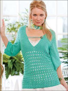 Crochet Clothes - Crochet Sweater & Top Patterns - Button-Loop Tee -- Free Crochet Pattern