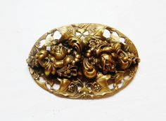 Vintage Art Nouveau Brooch Brass Sash Pin by IfindUseekVintage, $24.50