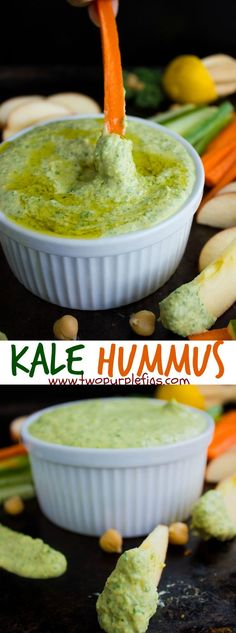 Garlic Kale Hummus Dip. Hands down the best hummus you'll every have! Smooth, creamy , vegan, gluten free and PURE delicious BLISS! Get this recipe in time now for the SuperBowl! www.twopurplefigs...