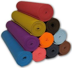 """Yoga Mat 1/8""""x68"""" Thick High Density 10 Colors Non-Toxic PER Phthalate Free Clean PVC (TM) by Bean Products - Red by Bean Products. $15.95. For those who want a more eco-friendly mat, our yoga mat is now environmentally friendly.  We call it Clean PVC tm an eco friendly yoga mat made of PER (Polymer Environmental Resin), which is a unique material that is more sensitive to the environment and your health than yoga mats made of standard PVC foam.  This mat does not ..."""