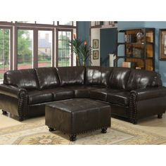 Hammond Brown Leather Sectional Sofa with Ottoman