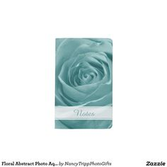Floral Abstract Photo Aqua Rose Personalized Pocket Moleskine Notebook Cover With Notebook