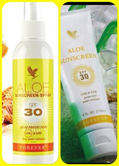 Aloe sun screen water-resistant SPF 30 contains soothing aloe Vera.