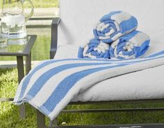 Spoil your guest with this 100% cotton large 35 x 70 beach towel in classic blue and white. Vacation Rental Beach Cabana Towel by The Distinguished Guest. #Airbnb #hospitality