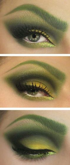Poison Ivy Makeup-different shades of green and yellow