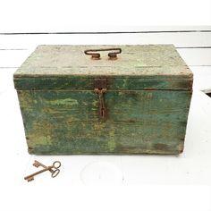 Houten kistje brocante groen http://juves-webshop.nl/vintage-/