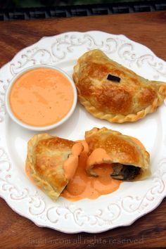 Poblano and cheese empanadas with chipotle sauce