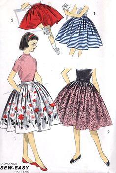 1950s Girls Sew Easy Dirndl Skirt