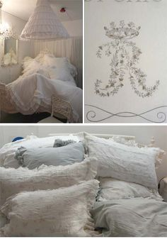 pretty white linens trimmed with lace and embroidered with flowers and monograms