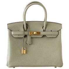 HERMES BIRKIN 30 bag new color SAGE clemence gold hardware | From a collection of rare vintage top handle bags at https://www.1stdibs.com/fashion/handbags-purses-bags/top-handle-bags/