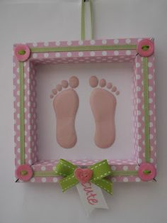 Cute baby feet box frame