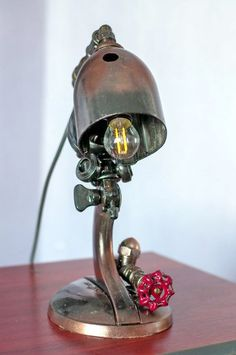 Steampunk Lamp - Table Lamp - Edison Light - Vintage Light - Pipe Lamp - Bedside Lamp - Rustic Lighting