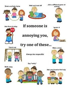 What to do when someone is annoying you/ conflict resolution poster teaching social skills, Teaching Social Skills, Social Emotional Learning, Social Skills Lessons, Teaching Kids, Social Skills Activities, Teaching Manners, Counseling Activities, Behaviour Management, Conflict Management