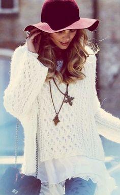 boho burgundy hat. white sweater