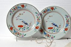 1790's Pair of Beautiful Antique Chinese Porcelain Famille Rose Birds Plates