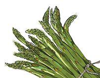 Asparagus by Tamalia Asparagus, Green Beans, Vegetables, Illustration, Studs, Vegetable Recipes, Illustrations, Veggies
