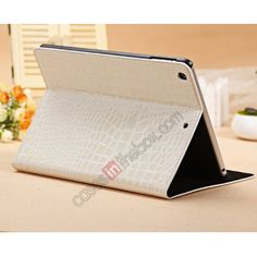 Luxury Crocodile Skin Pattern Leather Stand Case for iPad Air - White US$16.99