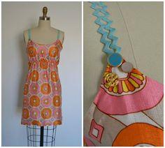Sun Dress Pink and Orange Vintage Fabric by ShopPatternonPattern, $20.00