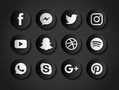 85e9cb7567acd Iconos para redes sociales sobre un fondo negro Vector Gratis Fondos Negros