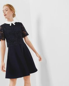 Layered lace dress - Navy | Dresses | Ted Baker FR