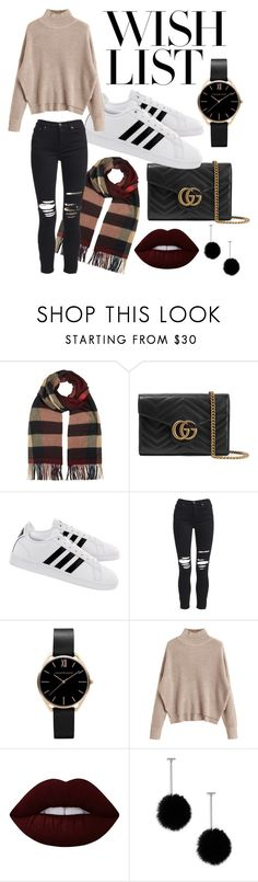 """#PolyPresents: Wish List"" by karissa-cargo ❤ liked on Polyvore featuring Burberry, Gucci, adidas, AMIRI, Lime Crime, Tuleste, contestentry and polyPresents"