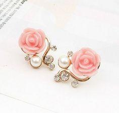 Betsey Johnson Present Fashion Jewelry Women Rhinestone Flowers Earrings Charm