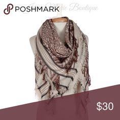 • fringe • blanket • scarf • Beige and brown lightweight printed blanket scarf with fringe details. 100% viscose. #23 Janis Boutique  Accessories Scarves & Wraps