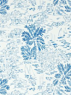 The wallpaper Homeport Novelty Marine - from Ralph Lauren is wallpaper with the dimensions m x m. The wallpaper Homeport Novelty Marine - PR Ralph Lauren, Textile Patterns, Print Patterns, Textiles, Textile Design, Fabric Design, Mediterranean Style, Conversational Prints, Paisajes